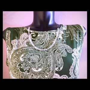 IMAN Green White Top With Necklace Combo XL